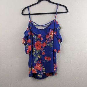 Vibrant Off the Shoulder Blouse With Roses